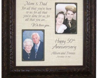 Wedding Anniversary Gift, Burlap Anniversary Gift, Wedding Gift for Parents 50th Anniversary, 16 X 16