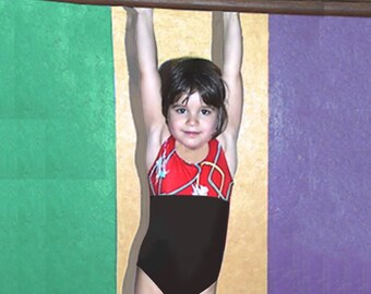 Girls Gymnastics Leotard Child size 2 3 4 5 6 7 8 Red purple teal black Squiggly abstract Lines NEW Youth tank leo