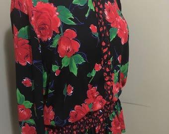 Vintage 1980s flowy Susan Freis top/shirt/blouse! Size XL