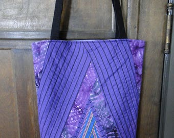 Purple & Black Pyramid Improv Quilted Tote Bag
