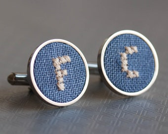 Initials cufflinks, gift for him, Personalized groomsmen cufflinks, Custom wedding cuff links - blue fabric - i024