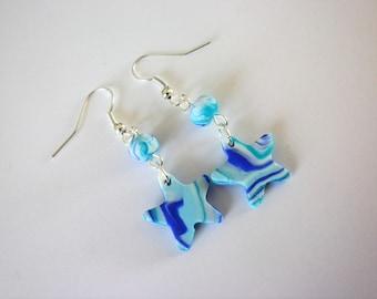 turquoise Navy Blue Star earrings and pastel original loop child
