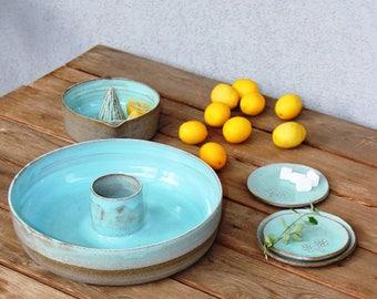 Ceramic baking dish, ceramic bakeware, cream baking pans, ceramic casserole dish, round baking dish, large baking dish, pottery casserole