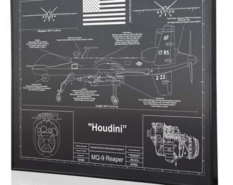 Aviation artwork etsy general atomics mq 9 reaper personalized laser engraved blueprint warbird artwork artwork for aviation malvernweather Image collections