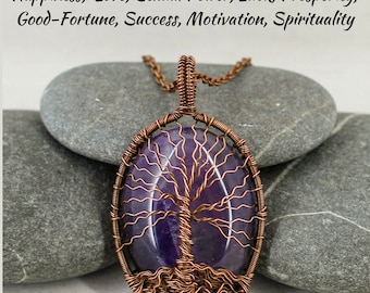 Tree of life necklace Amethyst necklace Birthday gift for mom gift for grandma gift for daughter gift for sister gift for dad gift for men