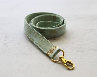 Mint and gold fabric lanyard - 3/4 inch wide lanyard - cute key lanyard - ID holder - gold key lanyard - teachers lanyard - mint  lanyard