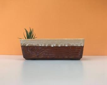 Vintage Faux Wood Planter, Brush Pottery, Ceramic Planter, Brown Planter, Flower Pot, Succulent Planter, Cactus Planter, Cabin Decor, Rustic