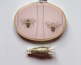 The bees knees - embroidery hoop- wall hanging