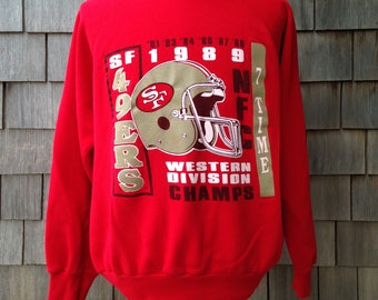 80s vintage San Francisco 49ers sweatshirt - 1989 NFC West Champs - Large / XL - Forty Niners