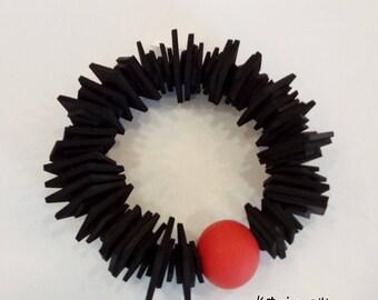 BRACELET, Black Bracelet With Red, Handmade Jewelry, Modern Bracelet ,Girlfriend Gift, Gift For Woman, Bracelet For Her, Rubber Bracelet,