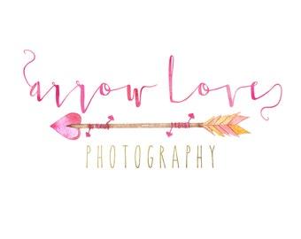 Premade Custom Logo -ARROW LOVE- Premade Logo, Photography Logo, Logo Design, Logo Branding, Photographer Logo, Boho Logo