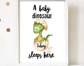 Baby dinosaur sleeps here personalised print.