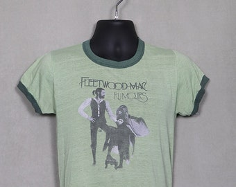 1970s Fleetwood Mac, Rumours t-shirt, Stevie Nicks shirt, vintage rare ringer tee, soft and thin, original OG, faded