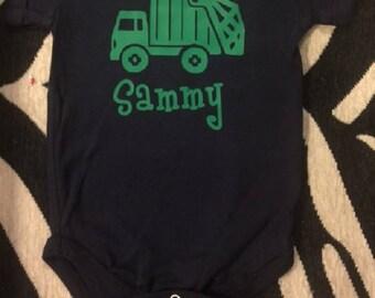 baby trash truck, infant garbage truck shirt, i love trash trucks, personalized trash truck, garbage truck baby, trash truck baby boy