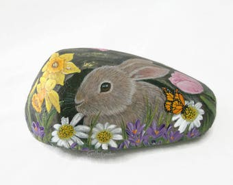 Painted rock, painted stone, Easter bunny, Easter rabbit, spring flowers, daffodil, tulips, butterfly, Easter painting, easter rock art, bug