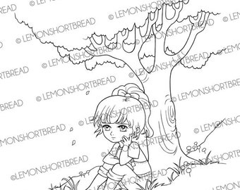Digital Stamp Girl Sitting Under Tree, Digi Download, Nature Country Girl, Summer, Clip Art, Coloring page, Gardening, Scrapbooking