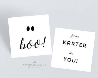 Personalized Halloween Gift tags/Ghost Treat tags/Halloween 3x3 gift tags/white boo personalized gift tags