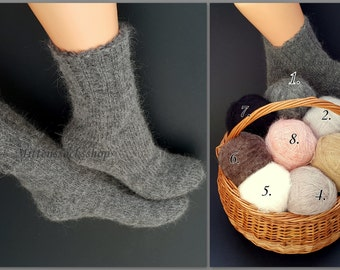 Gray Mohair Socks Hand Knitted Mohair Socks Very Warm Mohair Socks Sleeping Mohair Socks Women's socks Men's socks Girl's socks Winter Socks