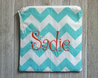 "Monogrammed Sandwich Size Bag -  Zippered Pouch -  Make Up Bag - ""Sadie"""