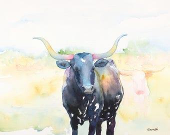 Texas longhorn print original cow painting longhorn painting longhorn art ranch canvas western art  longhorn cattle art abstract longhorn