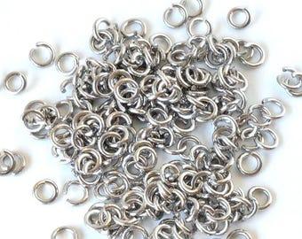 Set of 20 Metal Stainless Steel 316 l (6mm) - split rings silver - AASST616AG069