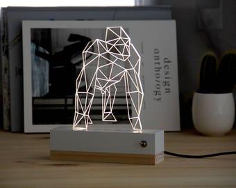 Gorilla nightlight // gift idea // lamp 3d // plexiglas // design