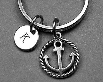 Anchor keychain, Anchor keyring, nautical keychain, Anchor keychain, nautical gift, personalized keychain, initial keychain, custom keychain
