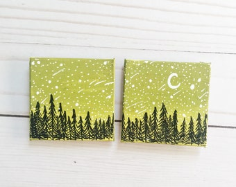 2 piece canvas magnet- forest with army green canvas & starry night- 2 inch canvas