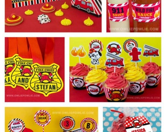 Fire Engine BIRTHDAY Party Printable Package & Invitation, INSTANT DOWNLOAD, You Edit Yourself with Adobe Reader