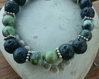 Lava stone and turquoise stone bracelet