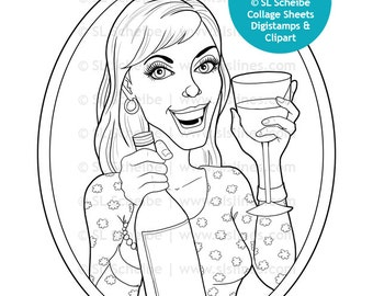 Digistamp wine drinker, lady with glass of wine, digital stamp, instant download coloring