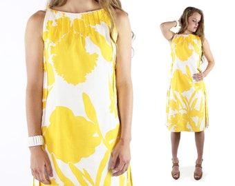 70s Abstract Floral Dress Yellow White Sleeveless Sundress Tunic Wilson Folmar Vintage 1970s Small S Hippie Boho