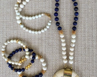 Crescent Necklace with Magnesite and Lapis Beads