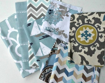 Blue Fabric Scraps Pack, Backdrop Lyon, Carlo, Zoom Zig Zag, Cape May, Fairy Spa Blue, Suzanne, Paisley Puzzle, Tip Top Home Decor Remnants
