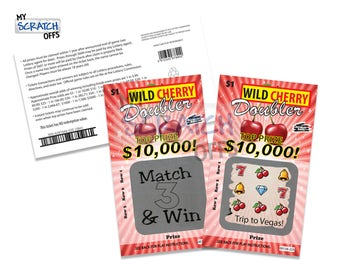 Scratch Off (3 cards) Personalized Lotto Replica Wild Cherry Doubler Card Scratch-Off Ticket with Custom Message