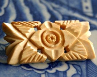 Ivory Brooch Vintage Hand Carved Japan