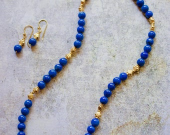 Genuine Lapis Lazuly, Gold plated Silver Necklace with Matching Earrings.