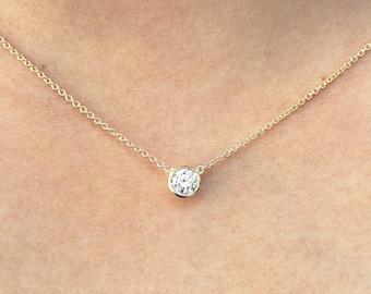 Diamond solitaire necklace14k gold 007 ct dainty diamond diamond solitaire necklace diamond necklace brilliant cut 050 ct natural diamond bezel set mozeypictures Image collections