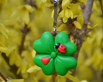 Polymer clay Keychain lucky clover Keychain, ladybug Keychain, Keychain, spring, luck, bag charm keychain