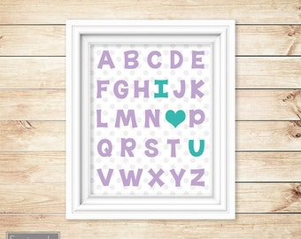 I Love Heart You Alphabet Teal Purple Learning Tool Wall Art Nursery Girls bedroom Decor ABC's Printable 8x10 Digital JPG Instant Download
