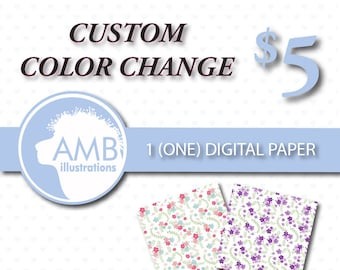 Custom color change for 1 (one) non-exclusive paper, custom color for digital paper, re-color, AMBillustrations , AMB-005
