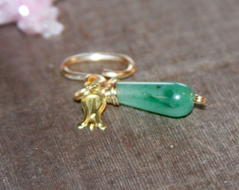 Gold Belly Button Ring Aventurine Green, 14k Gold Filled Belly Button Jewelry, 18 16 14 gauge Belly Button Hoop, Minimal Belly Ring