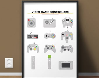 Xbox One Video Game Decor, Game Controller, Nintendo Gift, Video Game Poster, Retro Video Game Controllers, College Student Wall Art Gift