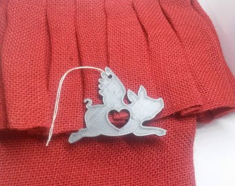 Love Pig Flying Christmas Ornament Animal Pet Heart Holiday Gift Decor Decoration