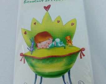 baby boy prince green with glitter congratulation card