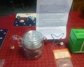 pyrex flameware 2-4 cup glass percolator + extra's