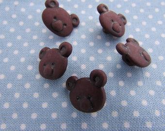 Brown Teddy Bear Buttons