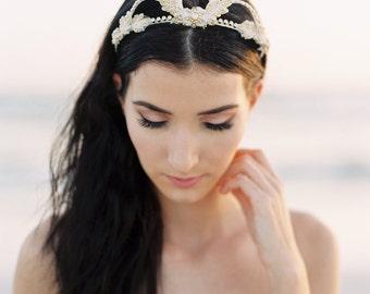 Strass or. Couronne de mariage. Couronne de fleurs de mariage. Accessoire de cheveux Bridal {Eva}
