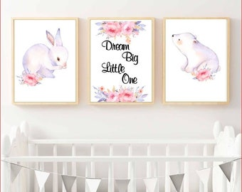 Nursery Wall Art - collection of 3 - Floral bunny and polar bear