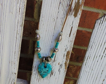 Turquoise and leather heart necklace